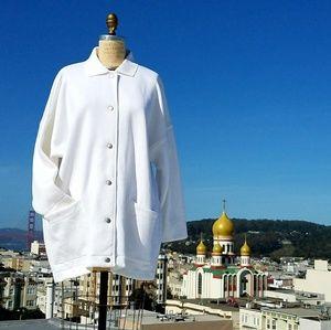 Tops - Oversized White Snap Down Sweatshirt, OS/XL